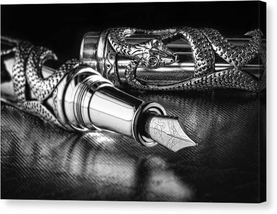 Vipers Canvas Print - Snake Pen In Black And White by Tom Mc Nemar