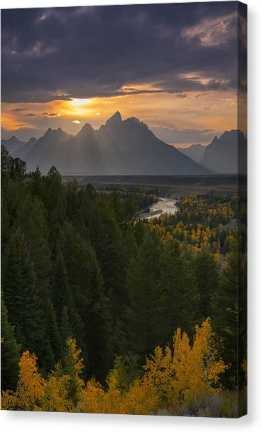 Snake River Canvas Print - Snake River Sunset by Joseph Rossbach