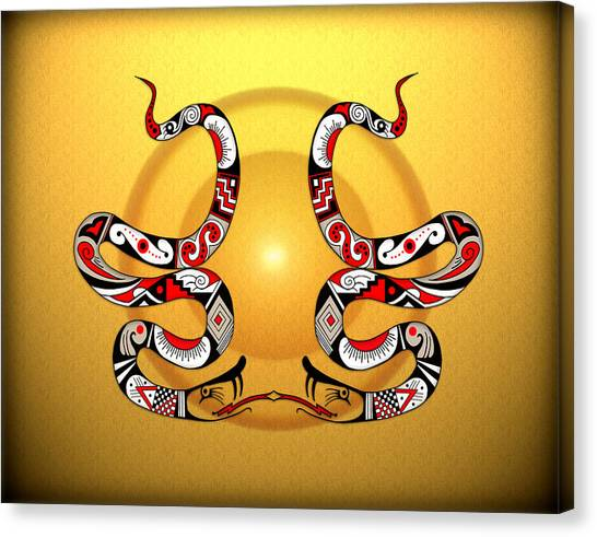 Snakes Homage To Mata Ortiz Canvas Print by Tony Ramos