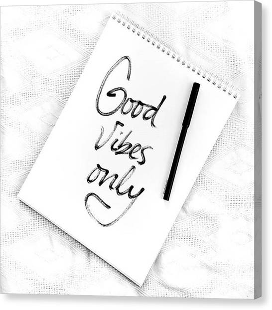 Minimalist Decor Canvas Print - Good Vibes Only by Jul V