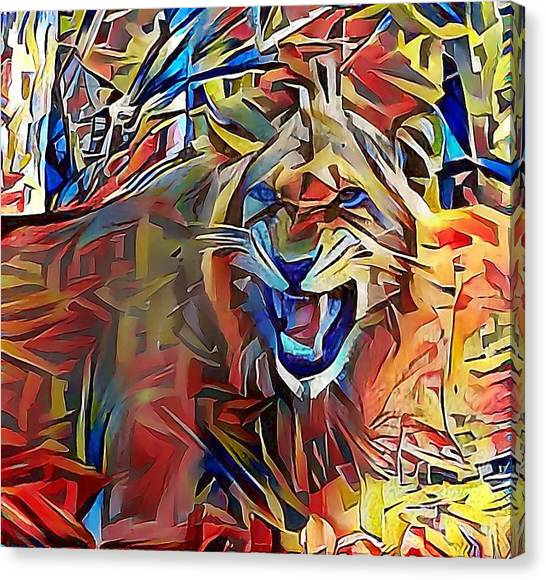 Snarling Lion Canvas Print