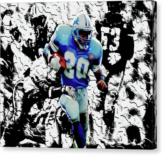 Barry Sanders Canvas Print - Sneaky Barry Sanders Breaking Out by Brian Reaves