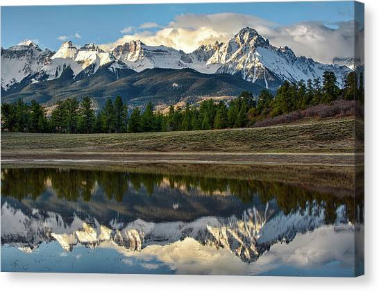 Canvas Print featuring the photograph Sneffels Reflected by Denise Bush