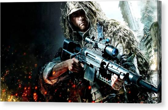 Soldiers Canvas Print - Sniper Ghost Warrior by Super Lovely