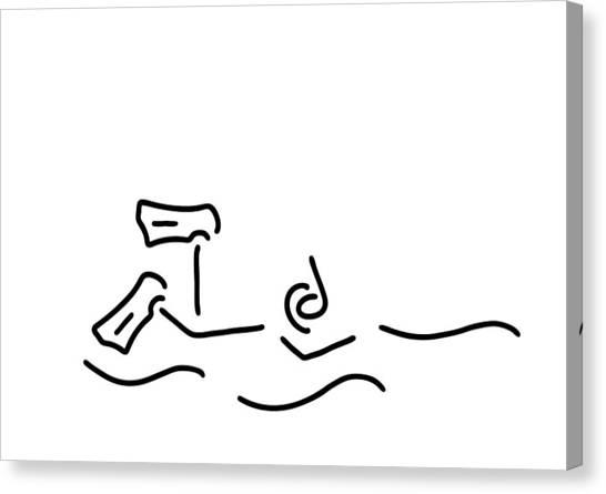 Snorkling Canvas Print - Snorkel Divers Dive by Lineamentum