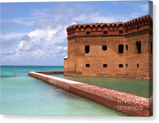 Canvas Print featuring the photograph Snorkelers Fort Jefferson by Steven Frame