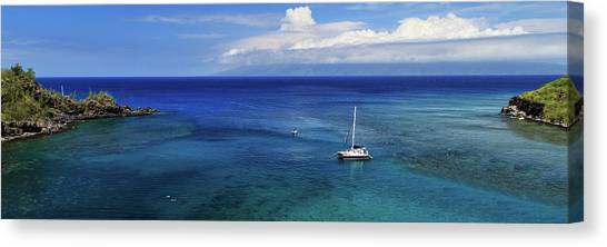 Snorkling Canvas Print - Snorkeling In Maui by James Eddy