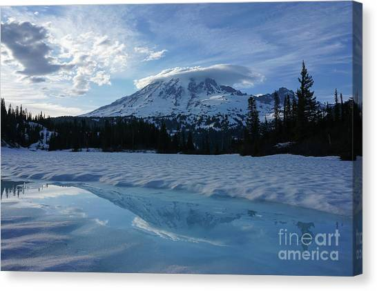 Washington Nationals Canvas Print - Snow And Ice Rainier Reflection by Mike Reid