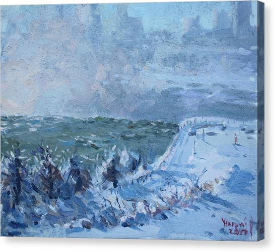 Horseshoe Falls Canvas Print - Snow At Horseshoe Falls by Ylli Haruni