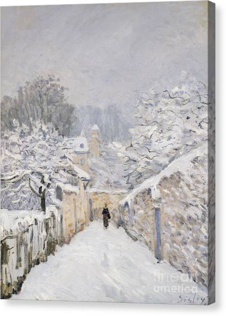 Snow Canvas Print - Snow At Louveciennes by Alfred Sisley