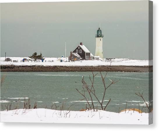 Snow At Scituate Lighthouse Canvas Print