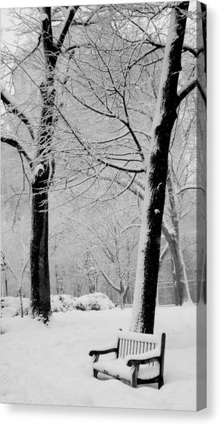 Snow Bench Canvas Print