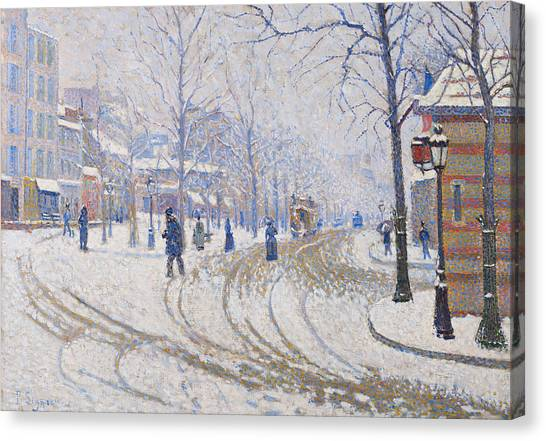 Divisionism Canvas Print - Snow, Boulevard De Clichy, Paris by Paul Signac