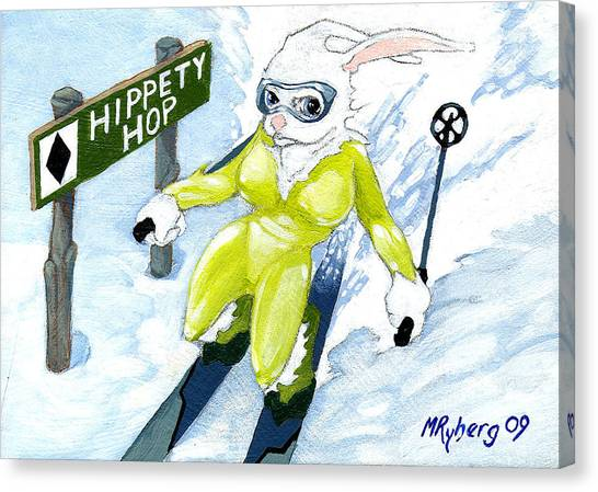Snow Bunny Skiing Canvas Print by Mark Ryberg