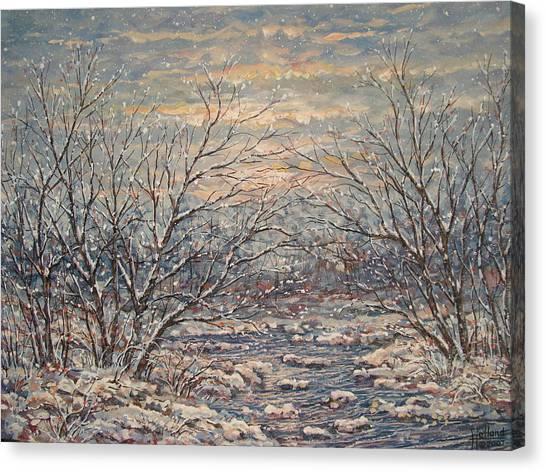 Snow By Brook. Canvas Print