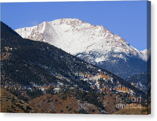 Snow Capped Pikes Peak In Winter Canvas Print