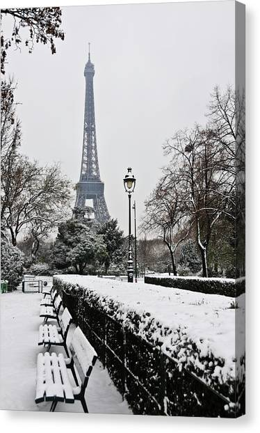 Absence Canvas Print - Snow Carpets Benches And Eiffel Tower by Jade and Bertrand Maitre