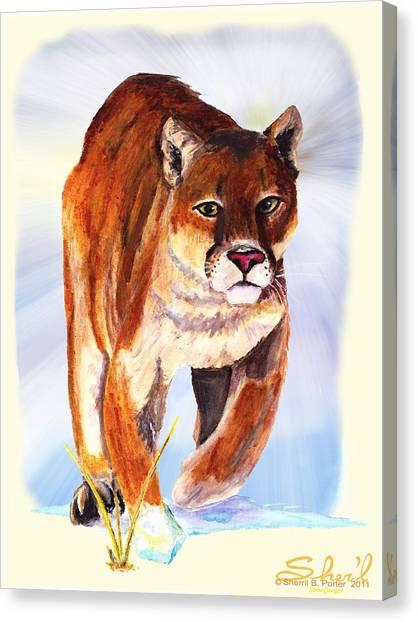 Snow Cougar Canvas Print