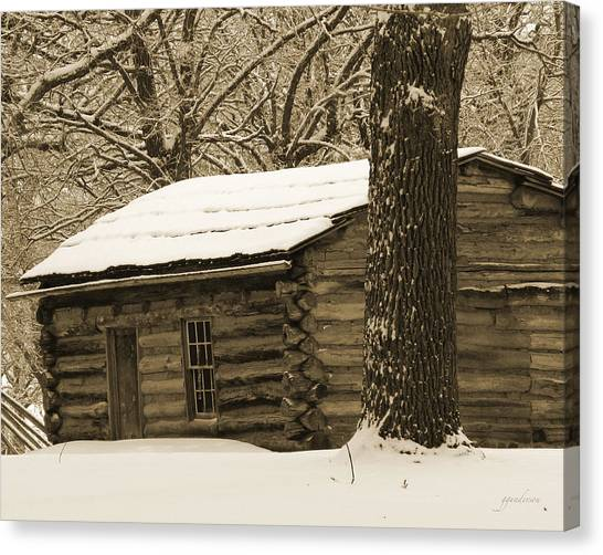 Snow Covered Gardner Cabin Canvas Print