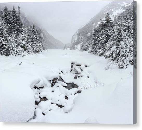 Snow Covered Lake Canvas Print