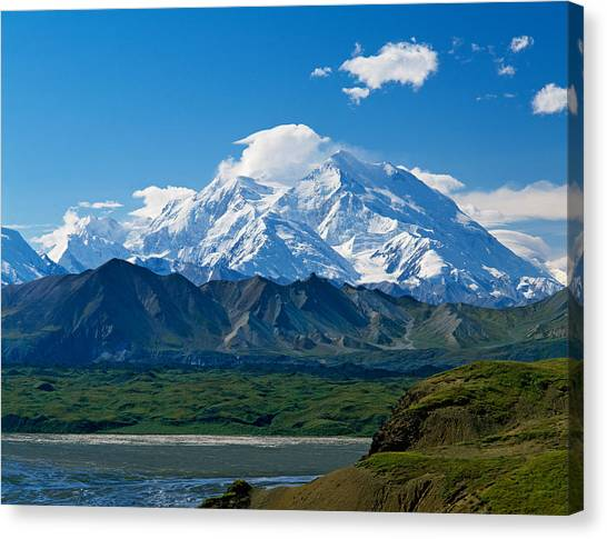 Denali Canvas Print - Snow-covered Mount Mckinley, Blue Sky by Panoramic Images