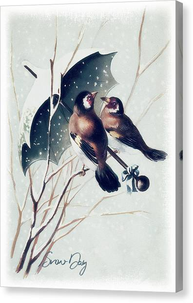 Canvas Print - Snow Day Songbirds - Goldfinch by Amanda Lakey