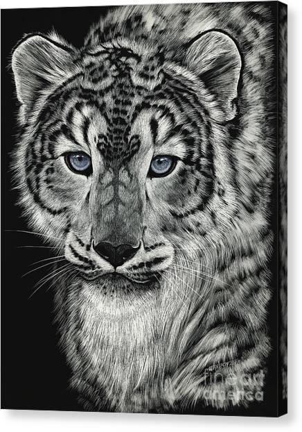 Snow Dragon Leopard Canvas Print