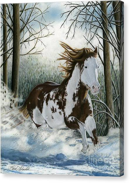 Snow Driftin', Pastel Canvas Print