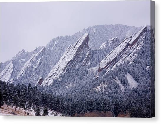 Snow Dusted Flatirons Boulder Colorado Canvas Print