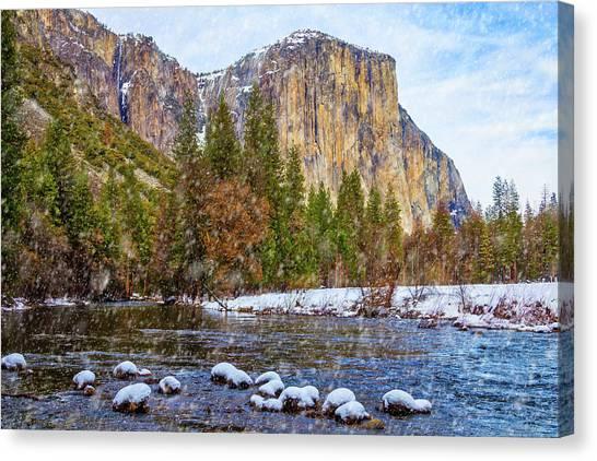 El Capitan Canvas Print - Snow Fall Yosemite Valley by Garry Gay