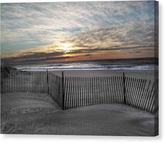 Snow Fence At Coopers Beach Canvas Print