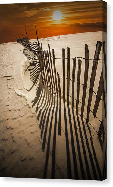 Snow Fence At Sunset Canvas Print