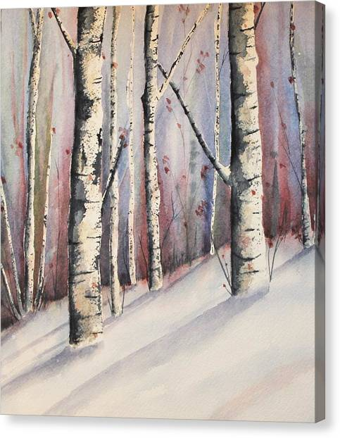 Snow In Birches Canvas Print