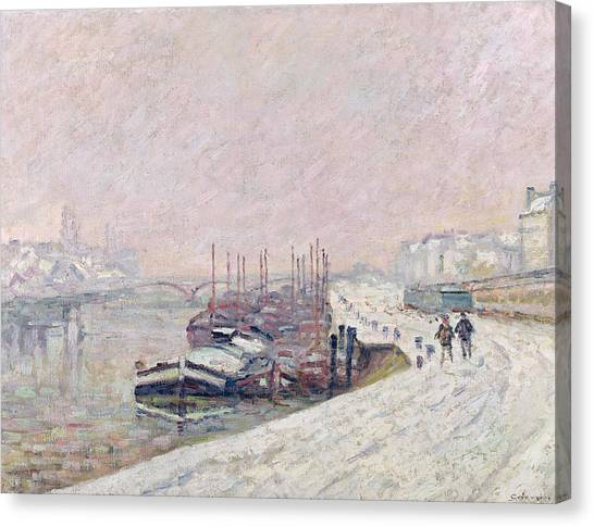 Snow Landscape Canvas Print - Snow In Rouen by Jean Baptiste Armand Guillaumin