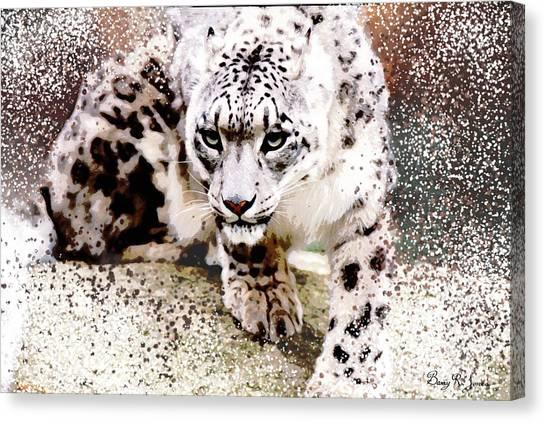 Canvas Print featuring the digital art Snow Leopard by Barry Jones