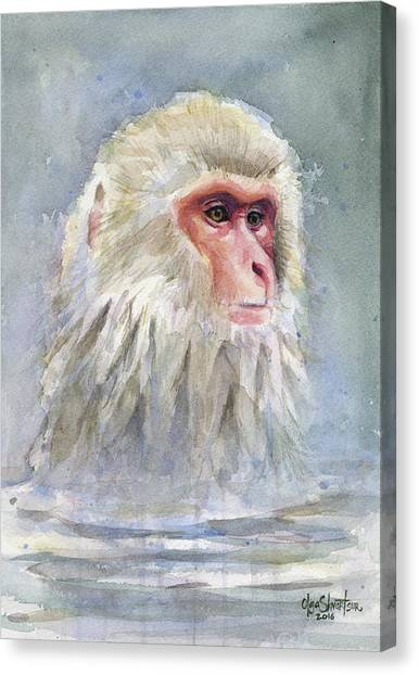 Monkeys Canvas Print - Snow Monkey Taking A Bath by Olga Shvartsur