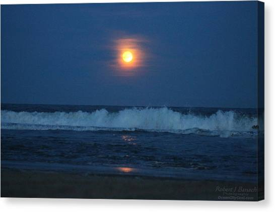 Snow Moon Ocean Waves Canvas Print
