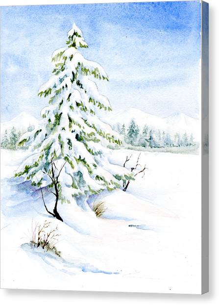 Snow On Evergreens Canvas Print
