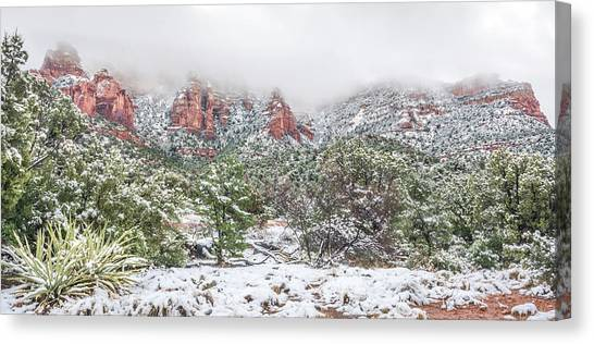 Snow On Red Rock Canvas Print