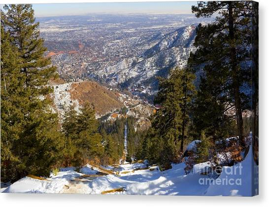 Snow On The Manitou Incline In Wintertime Canvas Print