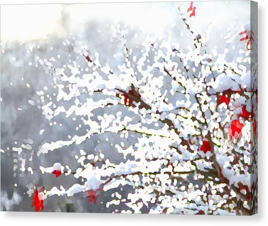 Canvas Print featuring the digital art Snow On The Maple by Shelli Fitzpatrick