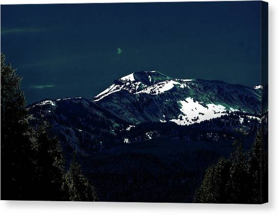 Snow On The Mountain At Night Canvas Print