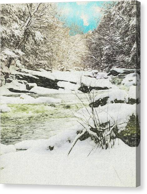 Snow On The Natchaug Canvas Print