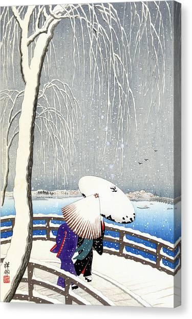 Snow On Willow Bridge By Koson Canvas Print