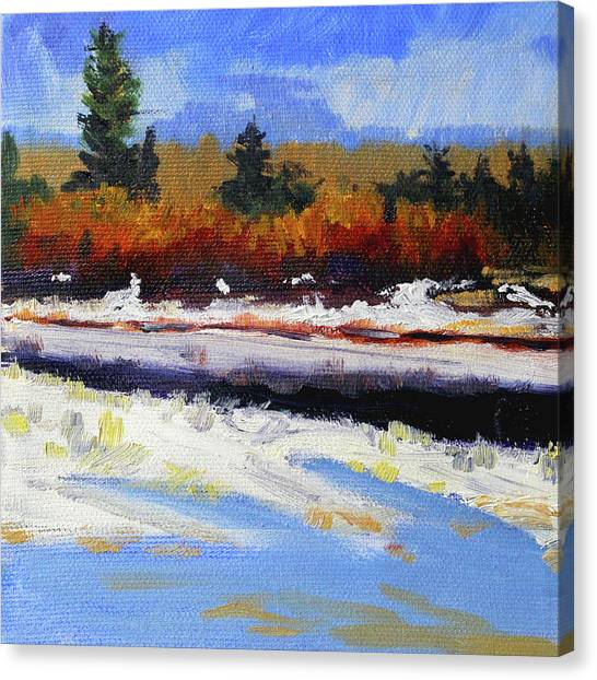 Snow Bank Canvas Print - Snow River by Nancy Merkle