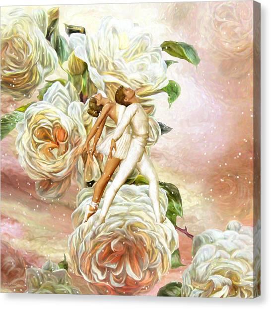 Dance Ballet Roses Canvas Print - Snow Rose Ballet by Carol Cavalaris
