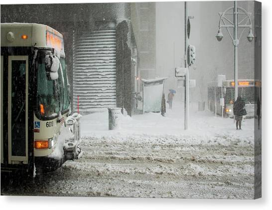 Canvas Print featuring the photograph Snow Storm Bus Stop by Stephen Holst
