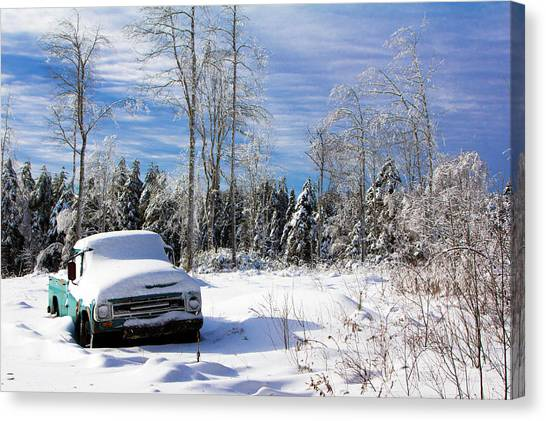 Snow Truck Canvas Print