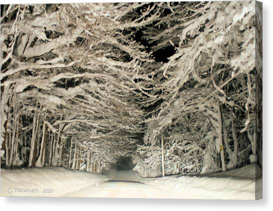 Snow Tunnel At Night Canvas Print