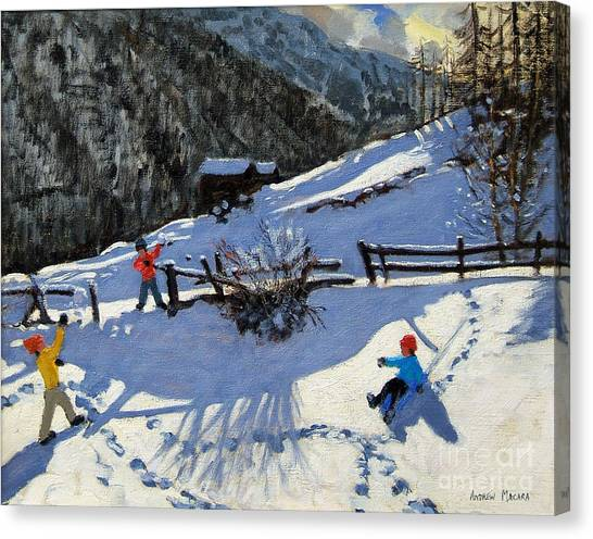 Ski Canvas Print - Snowballers by Andrew Macara